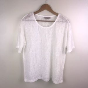 CHICO'S Semi Sheer Pullover White Sweater Blouse